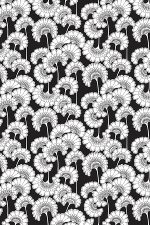 Japanese Floral Cotton Fabric - Black