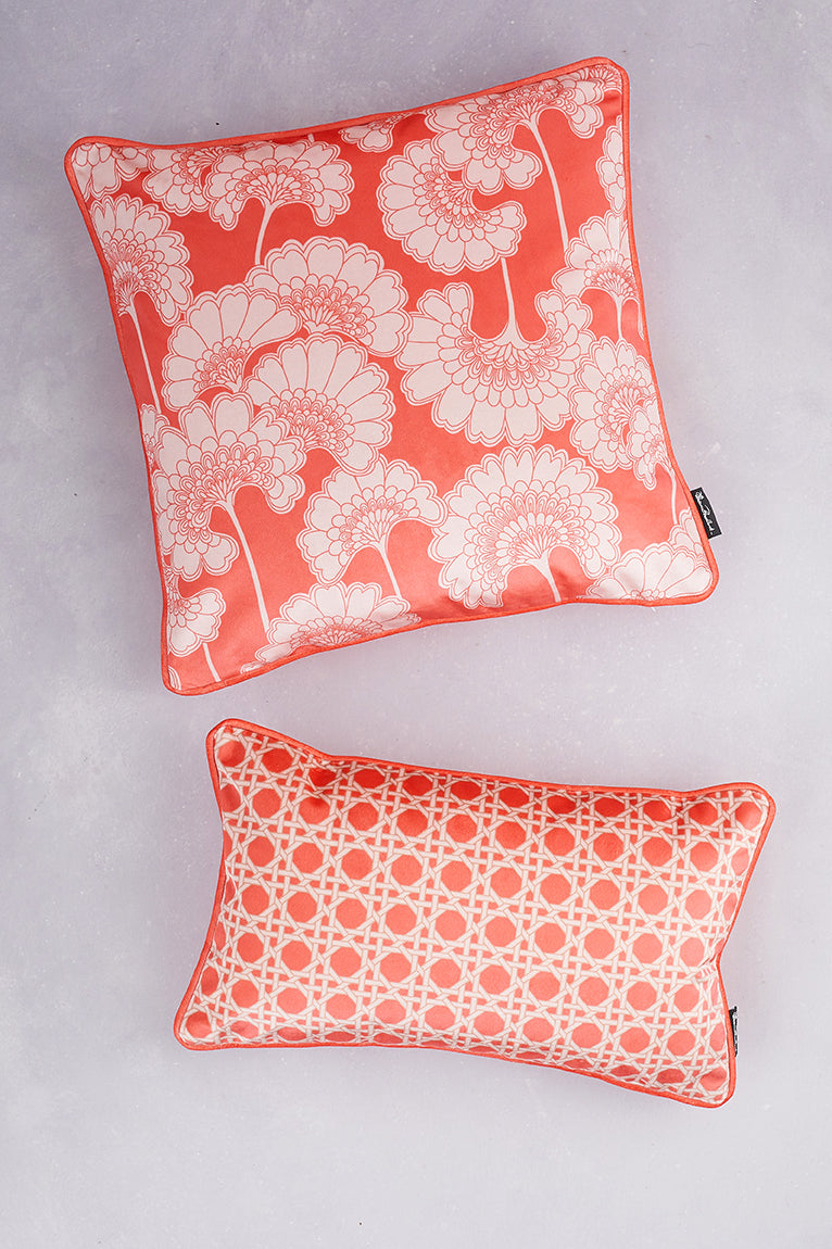 Duet of Velvet Cushions - Coral