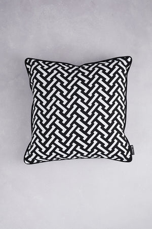 Small Zig Zag Cotton Cushion - Black