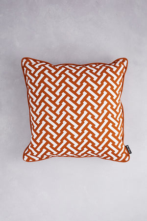 Zig Zag Cotton Cushion - Burnt Orange