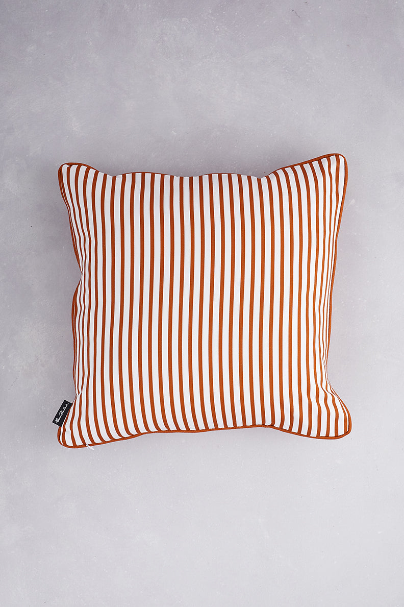 Japanese Floral Cotton Cushion - Burnt Orange