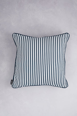 Japanese Floral Cotton Cushion - Navy