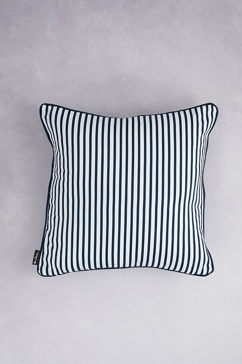 Small Zig Zag Cotton Cushion - Navy
