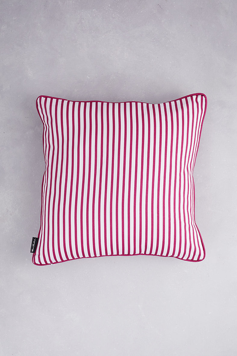 Small Zig Zag Cotton Cushion - Deep Pink