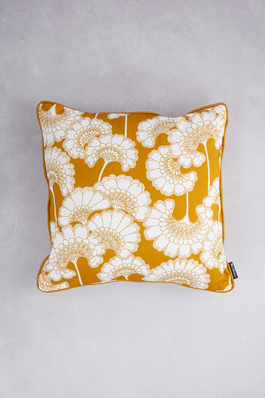 Japanese Floral Cotton Cushion - Mustard