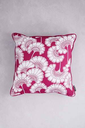Japanese Floral Cotton Cushion - Deep Pink