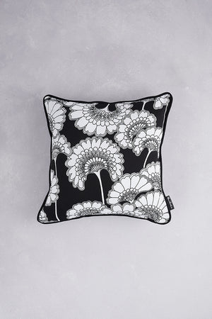 Japanese Floral Cotton Cushion - Black