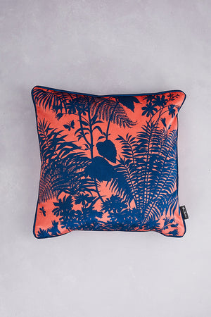 Shadow Floral Velvet Cushion - Coral