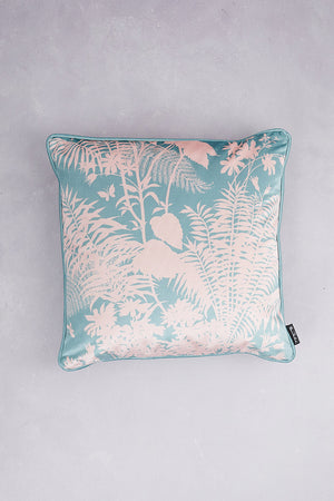 Shadow Floral Velvet Cushion - Pale Teal