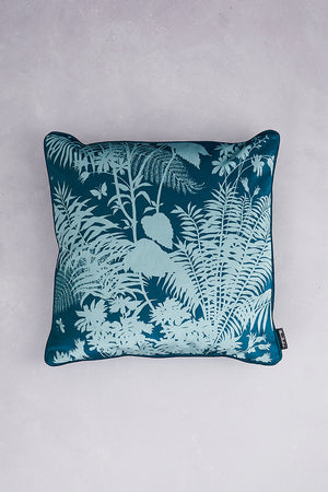 Shadow Floral Velvet Cushion - Forest Green