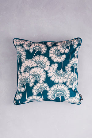 Japanese Floral Velvet Cushion - Forest Green