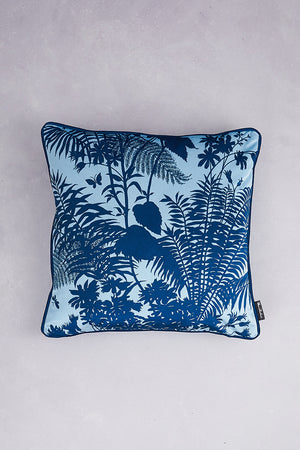 Shadow Floral Velvet Cushion - Baby Blue