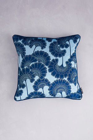 Japanese Floral Velvet Cushion - Baby Blue