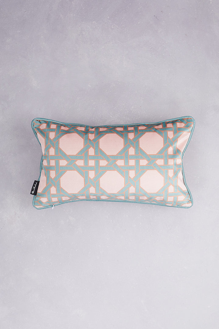 Octagonal Lattice Velvet Cushion - Blush