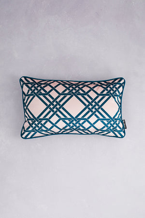 Pagoda Velvet Cushion - Green & Blush