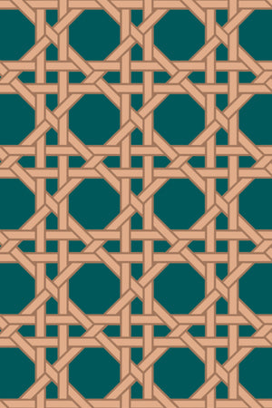 Octagonal Lattice Velvet Fabric - Forest Green