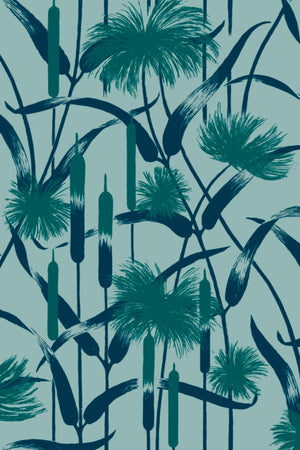 Papyrus Velvet Fabric - Pale Teal
