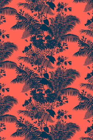 Shadow Floral Velvet Fabric - Coral