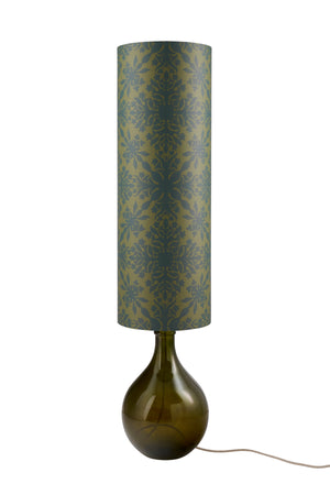 Bingle Floor Lamp - Green with Green Clover Cane Shade