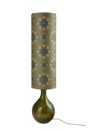 Bingle Floor Lamp - Green with Green Floral Spot Shade - LOW STOCK