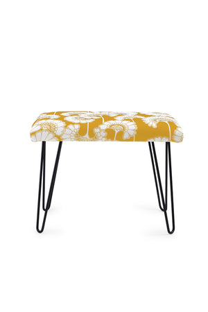 Japanese Floral Occasional Bench - Mustard