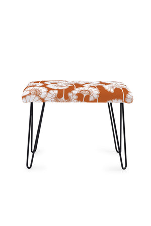 Japanese Floral Occasional Bench - Burnt Orange