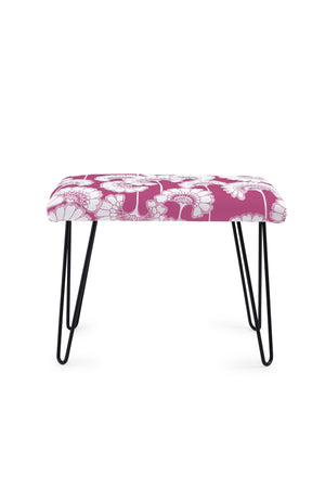 Japanese Floral Occasional Bench - Deep Pink