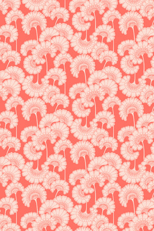 Japanese Floral Velvet Fabric - Coral