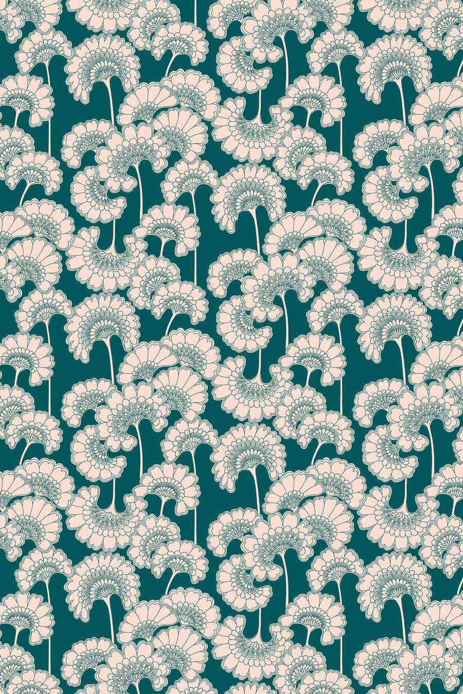 Japanese Floral Velvet Fabric - Forest Green
