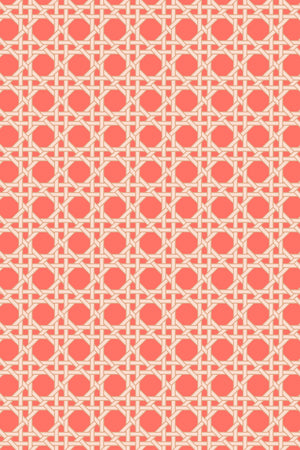 Octagonal Lattice Velvet Fabric - Coral