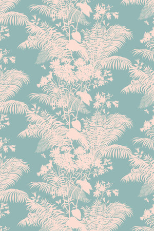 Shadow Floral Velvet Fabric - Pale Teal