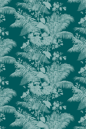 Shadow Floral Velvet Fabric - Forest Green