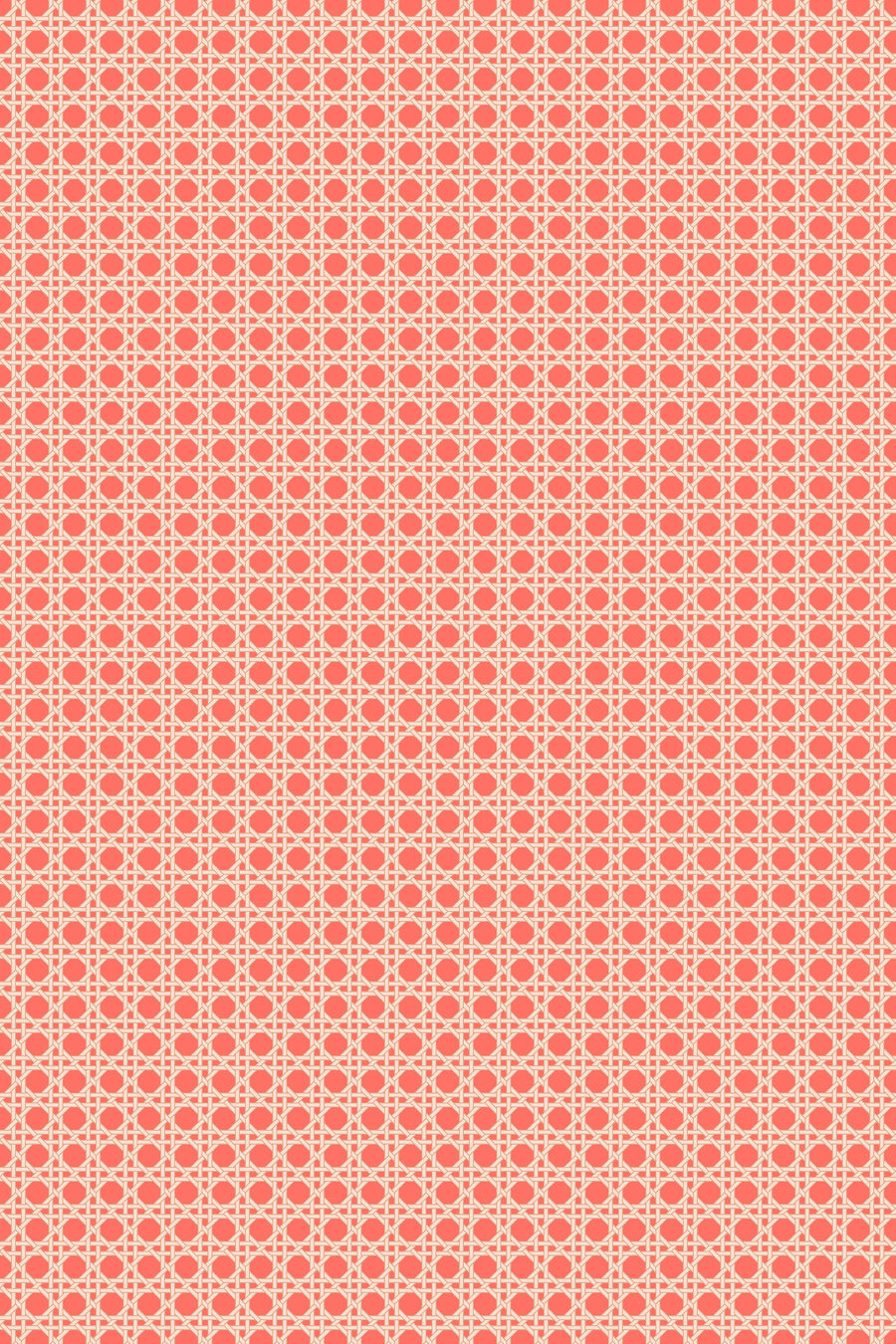 Octagonal Mini Lattice Velvet Fabric - Coral