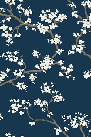 Branches Wallpaper - Deep Blue