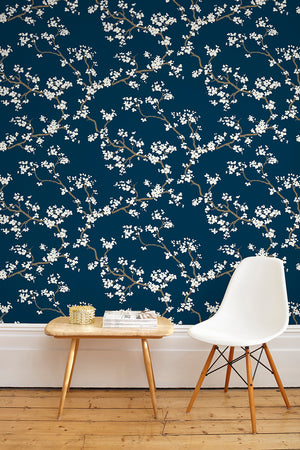 SAMPLE SALE - 1 ROLL Branches Wallpaper - Deep Blue (25% Saving)