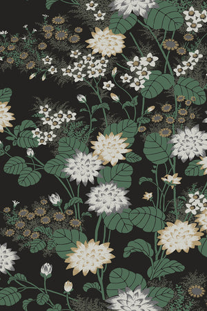 Chinese Floral Wallpaper - Black