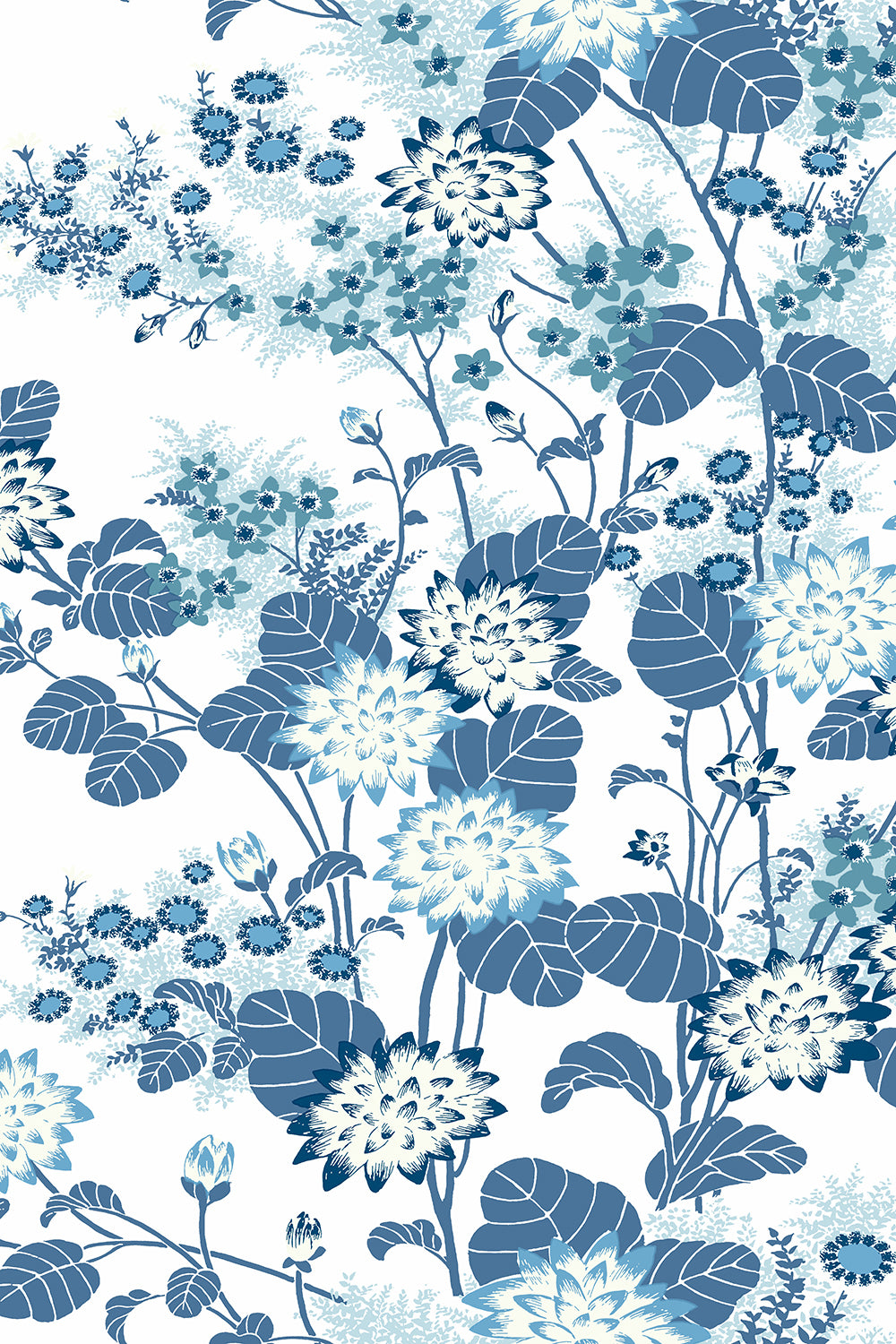 Chinese Floral Wallpaper Blue Florence Broadhurst