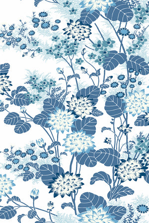 Chinese Floral Wallpaper - Blue