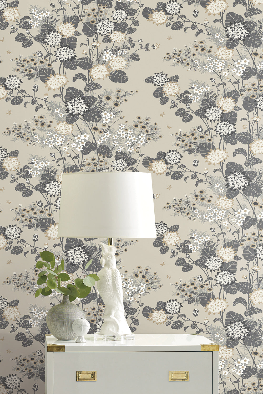 Chinese Floral Wallpaper Biscuit Florence Broadhurst