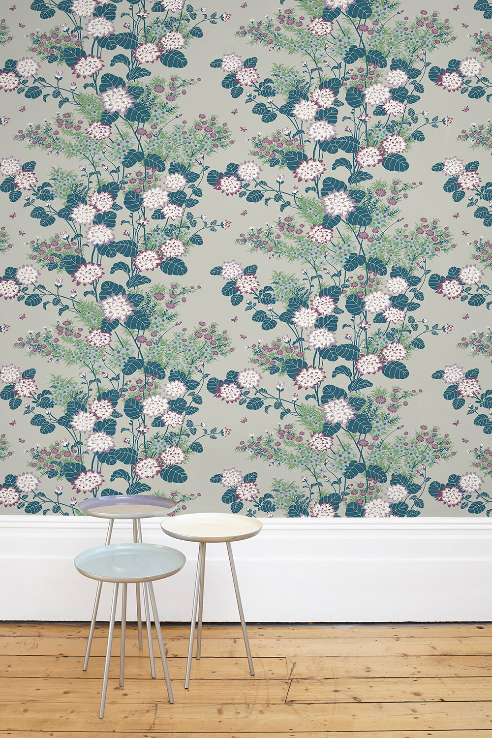 Chinese Floral Wallpaper Pewter Florence Broadhurst