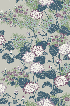 Chinese Floral Wallpaper - Pewter