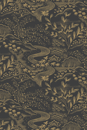 Waterfall Gardens Wallpaper - Charcoal & Gold