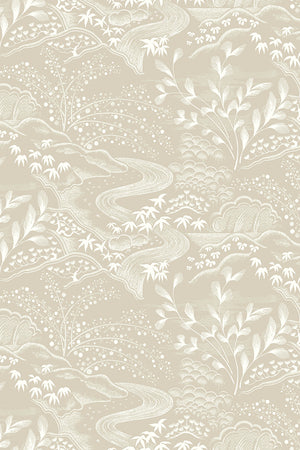 Waterfall Gardens Wallpaper - Biscuit