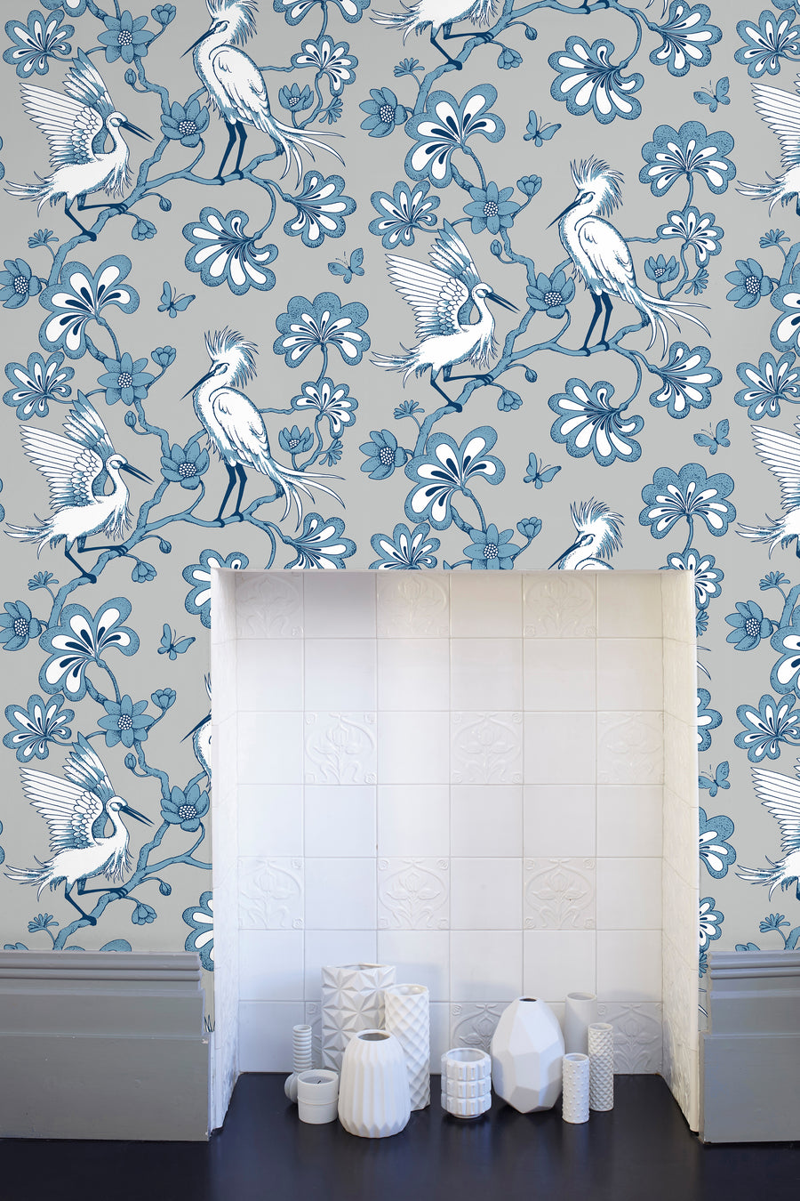 Egrets Wallpaper - Warm Grey & Blue