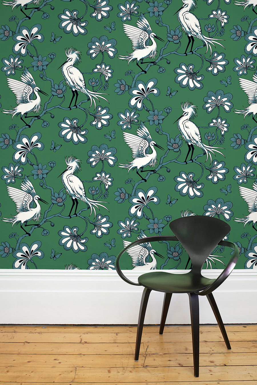 Egrets Wallpaper - Green  - As Featured in Elle Decoration