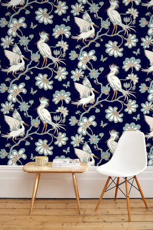 Egrets Wallpaper - Midnight Blue