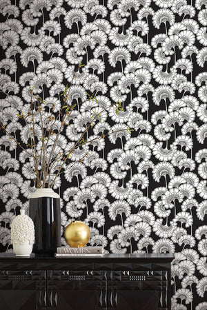 Japanese Floral Wallpaper - Black