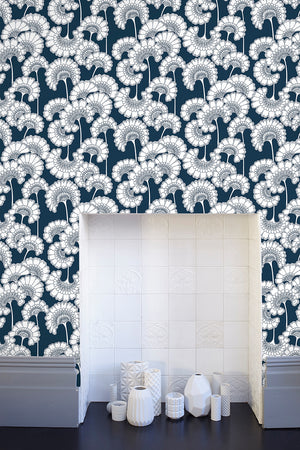 Japanese Floral Wallpaper - Navy