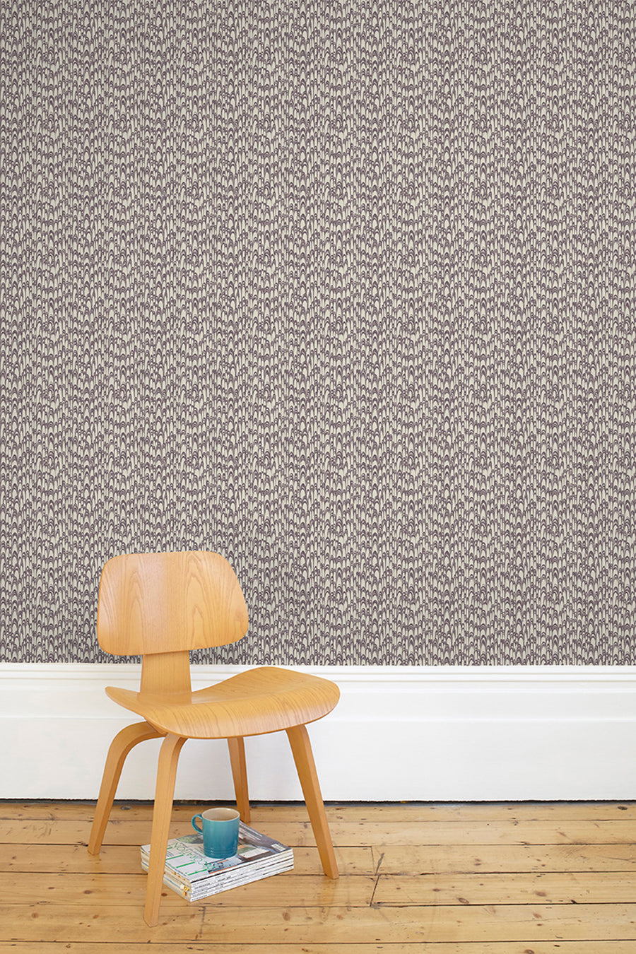 Waterjet Wallpaper - Pewter & Aubergine