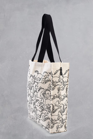 Horses Stampede Cotton Tote Bag